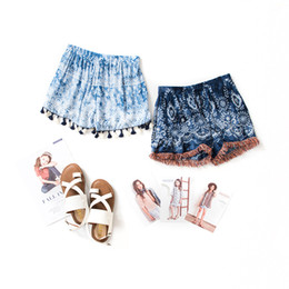 Wholesale Loose Pants For Girls - New Fashion Big Girls Shorts National style Tassel Children Short Pants Floral Holiday Pants For Girl Summer Kids Clothes Shorts A6501