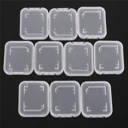 Wholesale Memory Card Case Protector Box - Wholesale- 10Pcs SD SDHC Memory Card Case Holder Protector Transparent Plastic Box Storage Camera Photo Studio Accessories