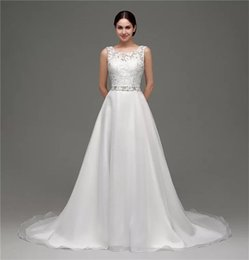 Wholesale Lining Shirt Prices - Square Neck A Line Floor Length Sleeveless White Wedding Dress Appliques Dress for Brides Wholesale Price