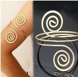Wholesale Vintage Armlet - Fashion multilayer Bracelet & Bangle Bohemian feather Ethnic Upper Arm Bracelet Gold Color Vintage Arrow Open Bangle Armlet Arm Cuff