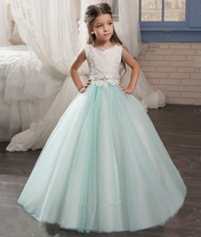 Wholesale Sleeveless Lace Shirts For Kids - 2017 A-Line Lace Flower Girl Dresses Sleeveless Ball Gown Beading Wedding Dresses For Kids Pageant Dresses Lace Up Back