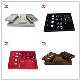 Wholesale Collections Necklace Earrings - Free Shipping Velvet Ring Earring Collection Case Beads Organizer Necklace Storage Jewelry Tray Set Christmas Jewelry Gift Box