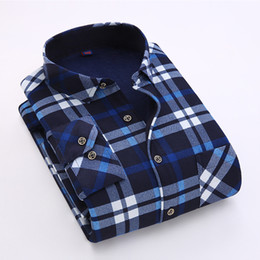 Wholesale Warm Slim Shirt Long Sleeves - Wholesale- 2016 Luopei Men's Winter Casual Plaid Shirts Keep Warm Long Sleeve Flannel Turn Down Collar Male Slim Fit Clothing