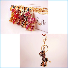 Wholesale Zebra Design Bags - New Design - Rhinestone Crystal Cute Zebra Horse Bag Pendant, Car Bag Keychain Keyrings to Women Lady Girl Handbag