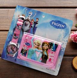 Wholesale Kid Cartoon Watches - Wholesale lot Frozen kids Sets watch and wallet purse wrist quartz Christmas Children gift Boys Girls Cartoon watches