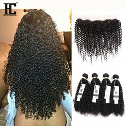 Wholesale Virgin Brazilian Synthetic Hair - HC Hair Product Pre Plucked Lace Frontal With 4 Bundles Malaysian Kinky Curly Hair With Frontal Closure Virgin Human Hair With Frontal 13*4