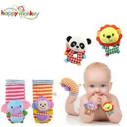 Wholesale Plush Sock Monkeys - Wholesale- 2 pcs pair Baby Toys Bug Wrist Strap Watch Band Socks Soft Lion Panda Elephant Monkey Plush Rattles Toy BeBe Para Brinquedos