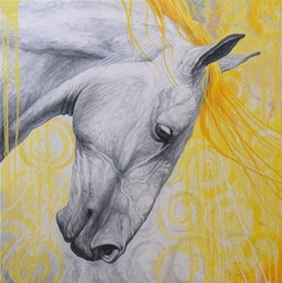 Wholesale Horse Paint Wall Art - Framed White Horse Grey Yellow,Pure Hand Painted WALL DECOR Art Oil Painting On High Quality Canvas.Multi sizes Available HS023
