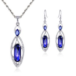 Wholesale Pearl Pendant Jewellery Sets - Jewelry Set Necklaces & Pendants Earrings red blue Crystal Jewellery New Silver Charms Wedding Jewelry party jewelry set 162184