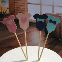 Wholesale Cupcake Clothing Wholesale - Wholesale-Baby boy girl Clothes Cupcake topper picks for Kids Birhday party favors Baby Shower Decoration Supplies 3.5*4cm