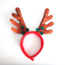 Wholesale Elk Christmas Decorations - Christmas Headband Children Antlers Head Hoop With Small Bells Cute Elk Christmas Decorations Cartoon Animal Modeling