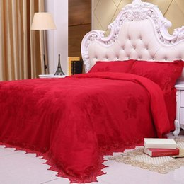 Wholesale Chinese Wedding Beds - 4 Piece Bedding Sets Classical Luxury Bed Sheets Soft Cotton Lace Chinese Style Wedding Bedding High
