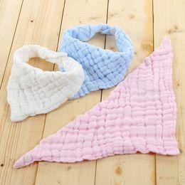 Wholesale Blue Burp Cloths - Baby Infant Runched Cotton Bandana Bib Drool Bib Toddler Newborn Soft Breathable Feeding Lunch Scarf Bib Burp Cloths