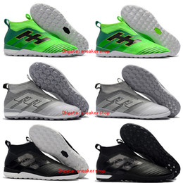 Wholesale Turf Shoes For Men - 2018 original ace 17 indoor soccer cleats ACE Tango 17+ Purecontrol TF IC boys football boots turf soccer shoes for kids Turbocharge Pack