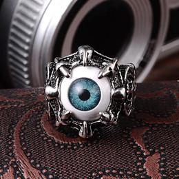 Wholesale Eyeball Rings - Men's Vintage Dragon Claw Evil Eye Skull Ring Stainless Steel Biker Ring Devil Eyeball Halloween Party Props Men Jewelry