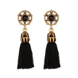 Wholesale Fringe Jewelry - Women Brincos Fashion Boho Rhinestone Fringe Earring Vintage ethnic Statement Tassel Dangle earrings fashion jewelry Charms