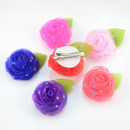 Wholesale Beautiful Rose Child Flowers - free shipping 30pcs lot Beautiful lace Rose Flowers with Clips Perfect for Kids Children Hairpins DIY Hair Decorative Accessories H0245