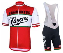 Wholesale Mens Xxs Shorts - 2017 La Casera Vintage Cycling Jersey And Bib Shorts Set tour de france Cycling jerseys Quick-Dry Ropa Ciclismo mens Cycling clothing Racing