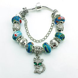 Wholesale Gold Murano Beads - Wholesale- Newest Arrival European Style Silver Plated Crystal Women Charm Bracelets With Murano Beads Style Jewelry