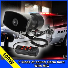 Wholesale Police Car Horn - 100W Car Motorcycle Warning Alarm Police Fire Siren Horn Pa Speaker Systerm Amplifier with MIC Car Falante Police Loudspeakers