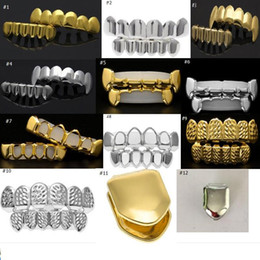 Wholesale Hip Hop Teeth - 14 Styles REAL SHINY REAL GOLD PLACTING Top Bottom GRILLZ Bling Mouth Teeth Caps Hip Hop Grills