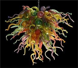 Wholesale Dining Room Decorative - LR361-Chihuly Style Handmade Blown Glass Chain Chandelier Hotel Decorative Murano Glass Hanging Crystal LED Chandelier Light