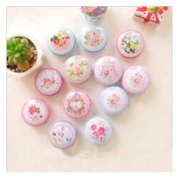 Wholesale Wholesale Sugar Free Candy - Beautiful 48pieces lot Flower Storage Box Small Metal Tin Boxes Tea Box for Sugar Coffee Coin Small Things Storage Free Shipping