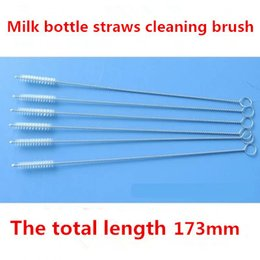 Wholesale Clean Milk Bottle - 100pcs lot stainless steel wire cleaning brush straws milk bottle cleaning brush Free shipping