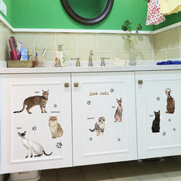 Wholesale Decorative Wall Decals Words - New Removable cat and English word lovely cat home decor wall sticker living room window DIY decorative self adhesive wall decal 50x70cm pc