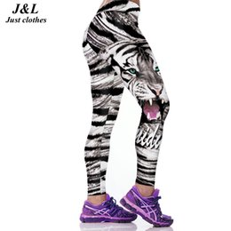 Wholesale Women Tiger Print Pants - Wholesale- JLZLSHONGLE Super New Sexy Women Fitness Leggings Workout Pants Tiger 3D Print 22 Styles Push-up Elastic Slim Legging Leggins