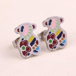 Wholesale Epoxy Studs - Stainless Steel Earrings Epoxy Tous Bear Fashion Bear Epoxy Resin Pop Spain Earrings Fashion Jewelry Girl Gift Drop Shipping High Profit Hot