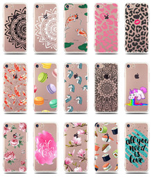 Wholesale Clear Flower Iphone Case - Fruit pineapple Banana Flower Animals Bird Mandala Henna Paisley Transparent Clear Soft TPU Gel Case For iPhone 5 5S SE 6 6S 7 Plus iPhone7