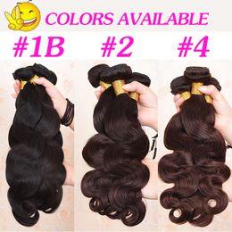 28 polegadas tecer cabelo castanho on-line-Extensões brasileiras do cabelo da onda do corpo do Virgin 8A 8-30 polegadas 100grams / pedaço de cabelo ondulado do corpo Weave preto natural do cabelo de Brown