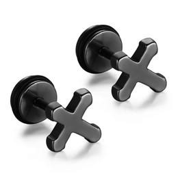 Wholesale Titanium Cross Earrings - New Arrvial Stainless Steel Cross Stud Earrings Women Men Punk Rock Titanium Steel Earrings For Male Wholesale ES-093