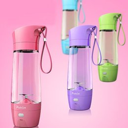 Wholesale High Mixer - 450ML High Quality Personal Blender With Travel Cup Mug USB Portable Electric Juicer Blender Rechargeable Juicer Bottle 4 Color WX-C55