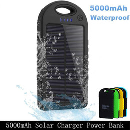 Wholesale Power Charger Battery Bank - Solar Power Bank Battery Waterproof Dual Usb Charger Phones Camping Lamp Accessories Ultra Thin Snap Hook Attach Backpack Hiking Grip Rubber