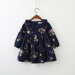 Wholesale Ruffle Pans - 2017 Autumn New Girls Dresses Floral Loose Casual Long Sleeve Dress Peter pan Collar Children Clothing 3-8Y