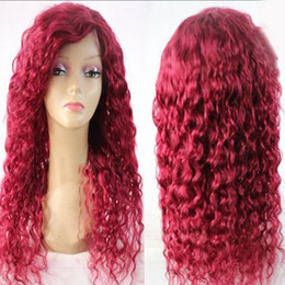 Wholesale Curly Red Full Lace Wig - Red Human Hair Wigs For Women100% Virgin Brazilian Lace Front Human Hair Red Full Lace 130 Density curly Wigs With Baby Hair