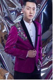 Wholesale Diamond Star Neck - men suits designs diamond popular terno stage costumes for singers men sequin blazer dance clothes jacket star style dress punk