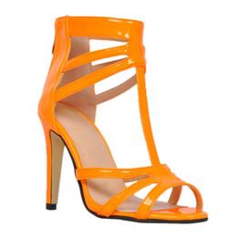 Saltos de mulheres laranja on-line-Kolnoo womens moda artesanal 11 cm t-cinta peep-toe couro de patente sandálias de salto alto sexy verão orange xd038