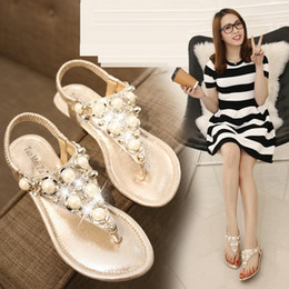 Wholesale Women S Flat Dress Shoes - HOT Women 's pearl flat thong sandals pearl diamond flat thong sandals Women shoes