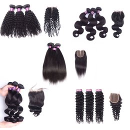 Wholesale Mixed Virgin Hair - Brazilian virgin hair with closure deep wave human hair with lace closure straight body wave loose wave kinky curly with 4x4 closure