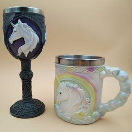 Wholesale White Goblets - 3D Unicorn Coffee Milk Mug Whisky Unicorn Double Wall Wine Goblet Novelty Cute Mug Ceramic Creative Coffee Tea Gift
