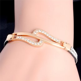 Wholesale Settings For Jewellry - Wholesale-Hot Fashion Jewellry 15 Designs 18K Gold Plated Handmade Austrian Crystal Rhinestone infinity Cuff Leather Bracelet For Women