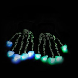 Wholesale Light Show Night - Halloween Glow Gloves LED Skeleton Gloves Party Light Up Gloves Night Light Party Show Glove Costume Novelty Toy 120pairs OOA2895