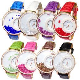 Wholesale Ladies Leather Bracelets Charms - 50pcs Women PU Leather Wristwatch Luxury bracelet diamond Crystal dress MxRe watches design ladies wrist watch Charming Alloy watches