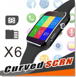 Wholesale Mobile Phones Sim Cards - X6 Smartwatch Smart watchs bracelet Phone with SIM TF Card Slot with Camera for Samsung LG Sony All Android Mobile Phone Black and White