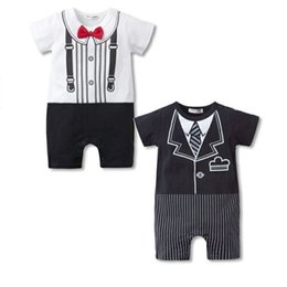 Wholesale Baby Clothes Model - New Summer Baby Romper Gentleman Modelling Cotton Short Sleeve O Neck 2 Colors New Boys Clothes