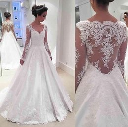 Wholesale Wedding Gown Transparent Sleeves - 2017 Vintage Lace Long Sleeve Wedding Dresses Sexy V-Neck Wedding Bridal Gowns Transparent Behind Plus Size Custom Made