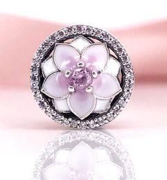 Wholesale Pink Cz Necklaces - Authentic 925 Sterling Silver Magnolia Bloom, Pale Cerise Enamel & Pink CZ CHARM Fit DIY Pandora Bracelet And Necklace 792085PCZ